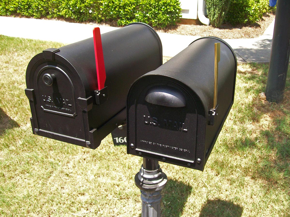 New mailbox custom metal mailboxes steel any subdivision for Unique mailboxes with post